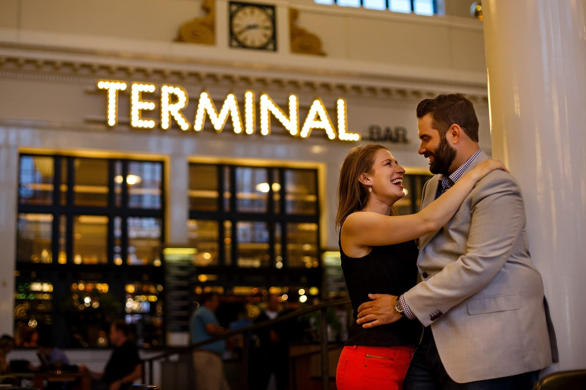 The Terminal bar is a great place to share a drink or a moment together like Devan and Josh are doing