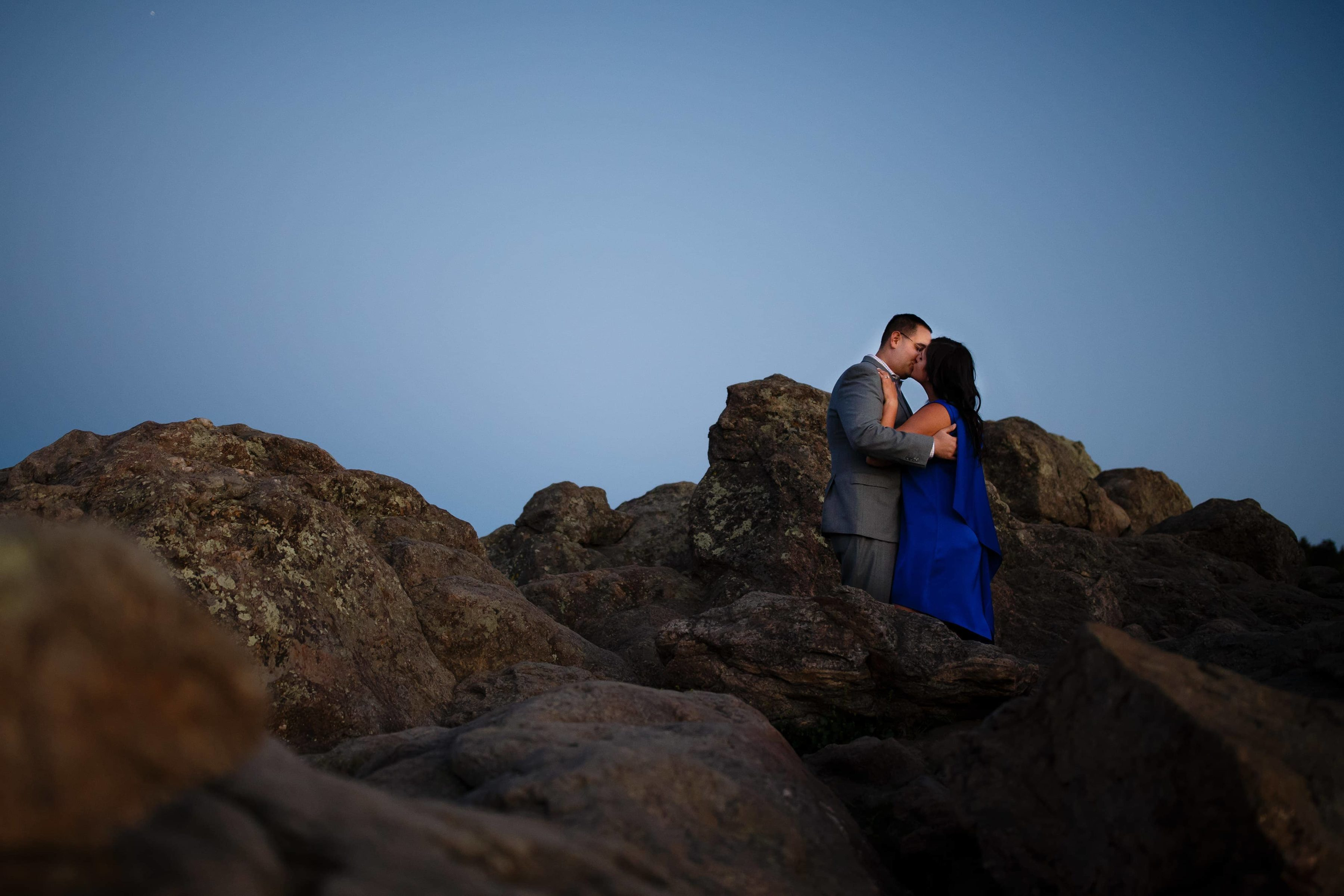 Dimitra and George kiss at Lost Gulch in Boulder