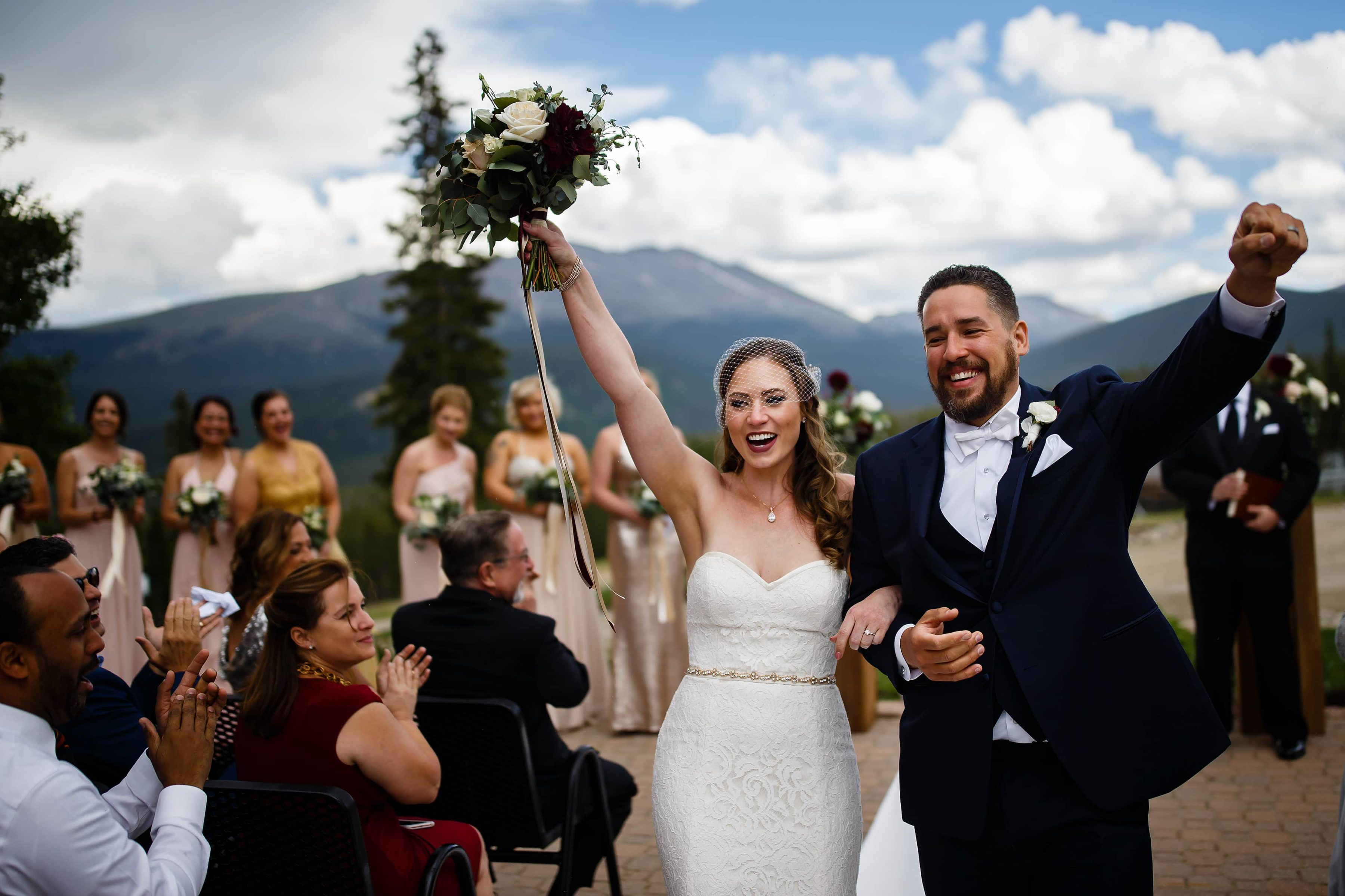 Nick and Sharon react following their TenMile Station wedding ceremony in Breckenridge