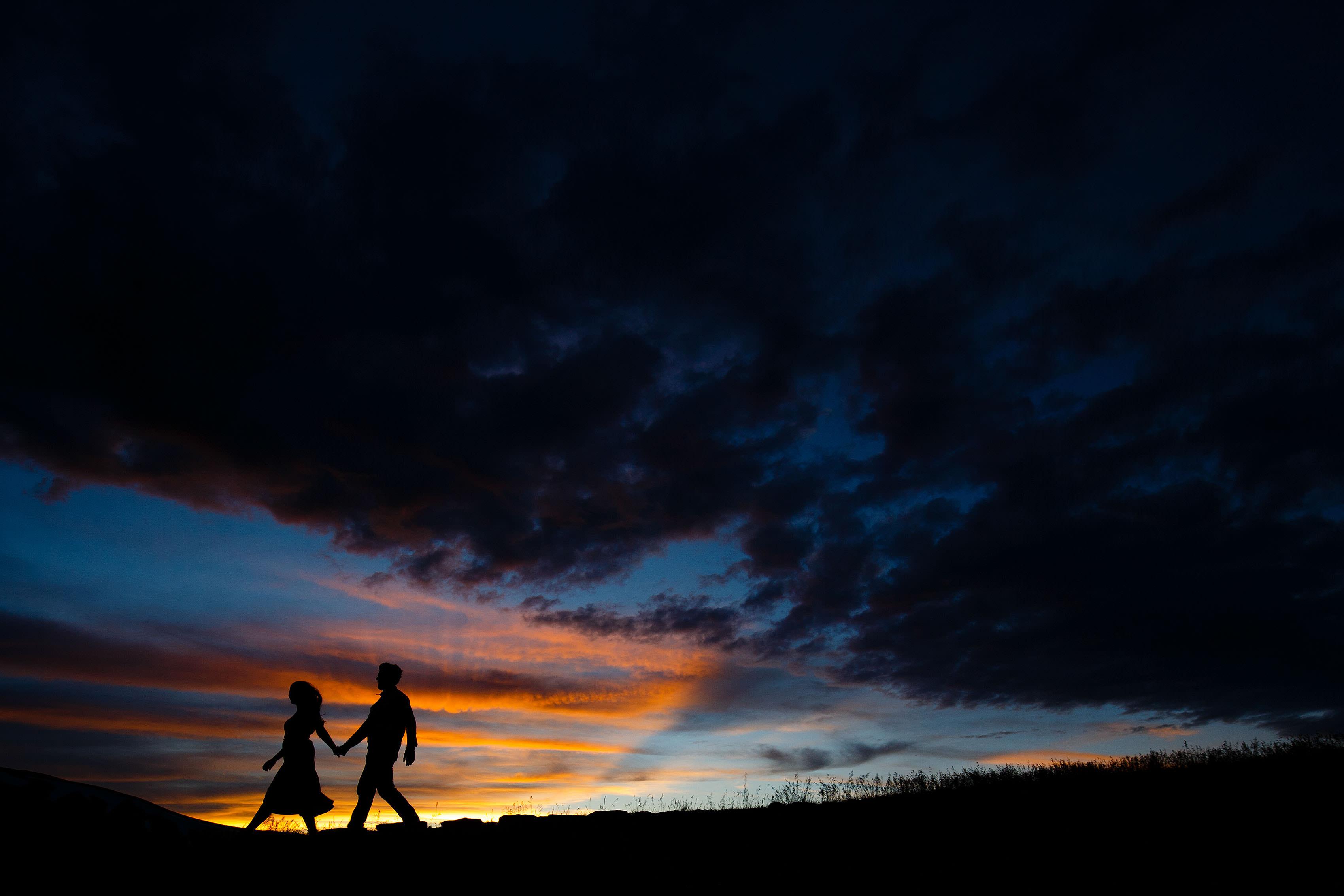 Rocky Mountain sunset engagement on Loveland Pass