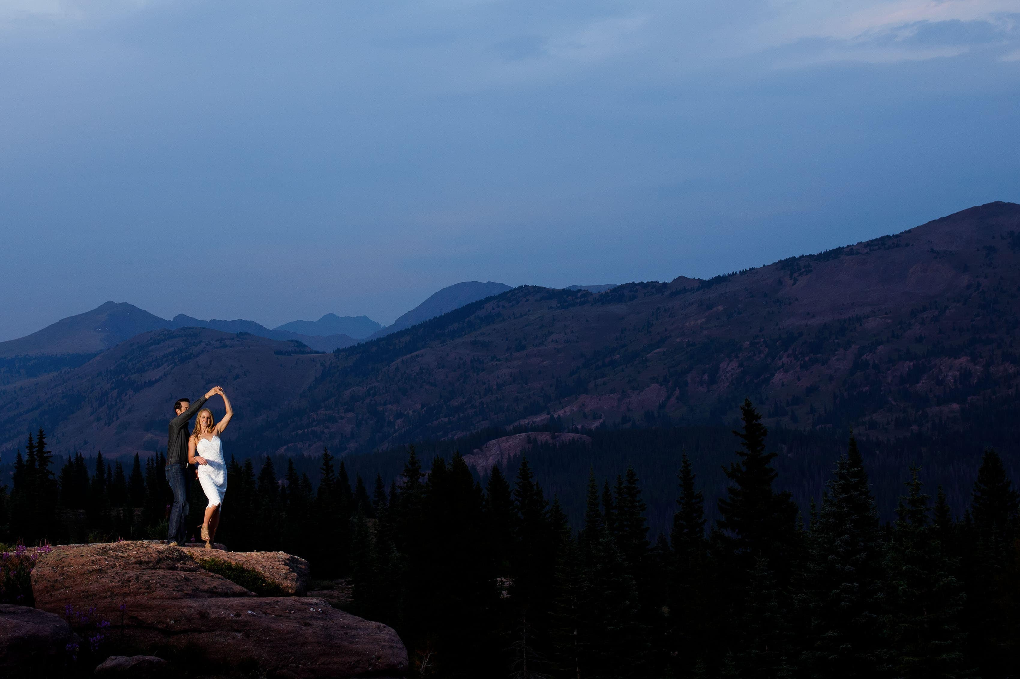 Mack spins Laura at twilight on Shrine Pass