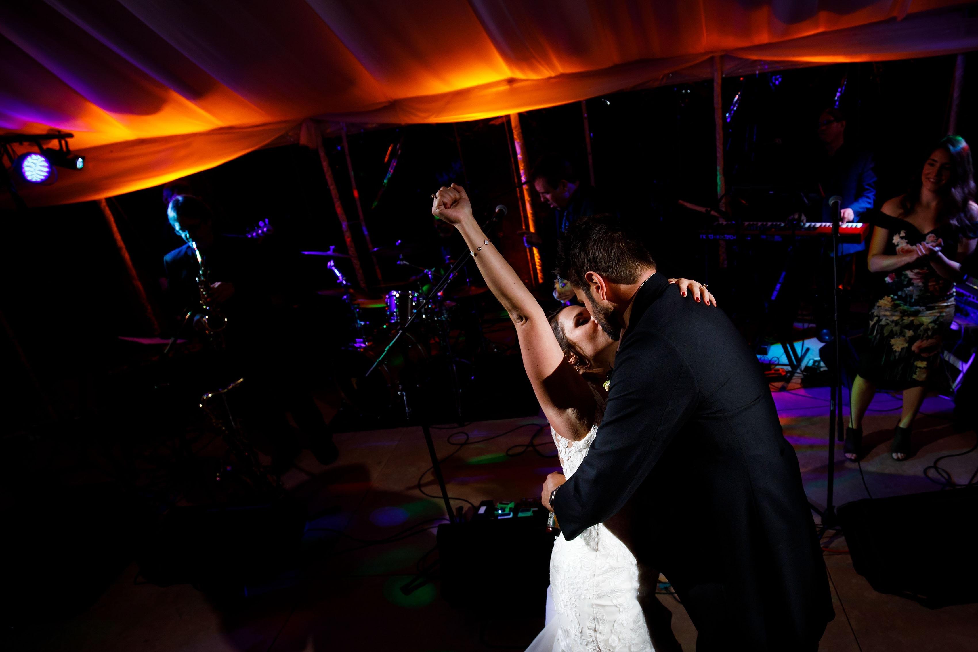 Jonny Mogambo Band perform as Melissa and Jordan celebrate during their wedding ceremony