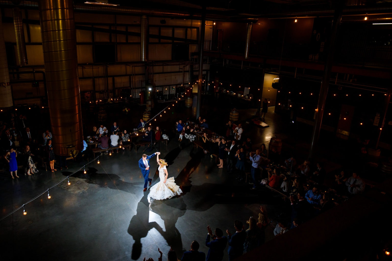First dance inside the bottling hall during a Great Divide Brewing wedding