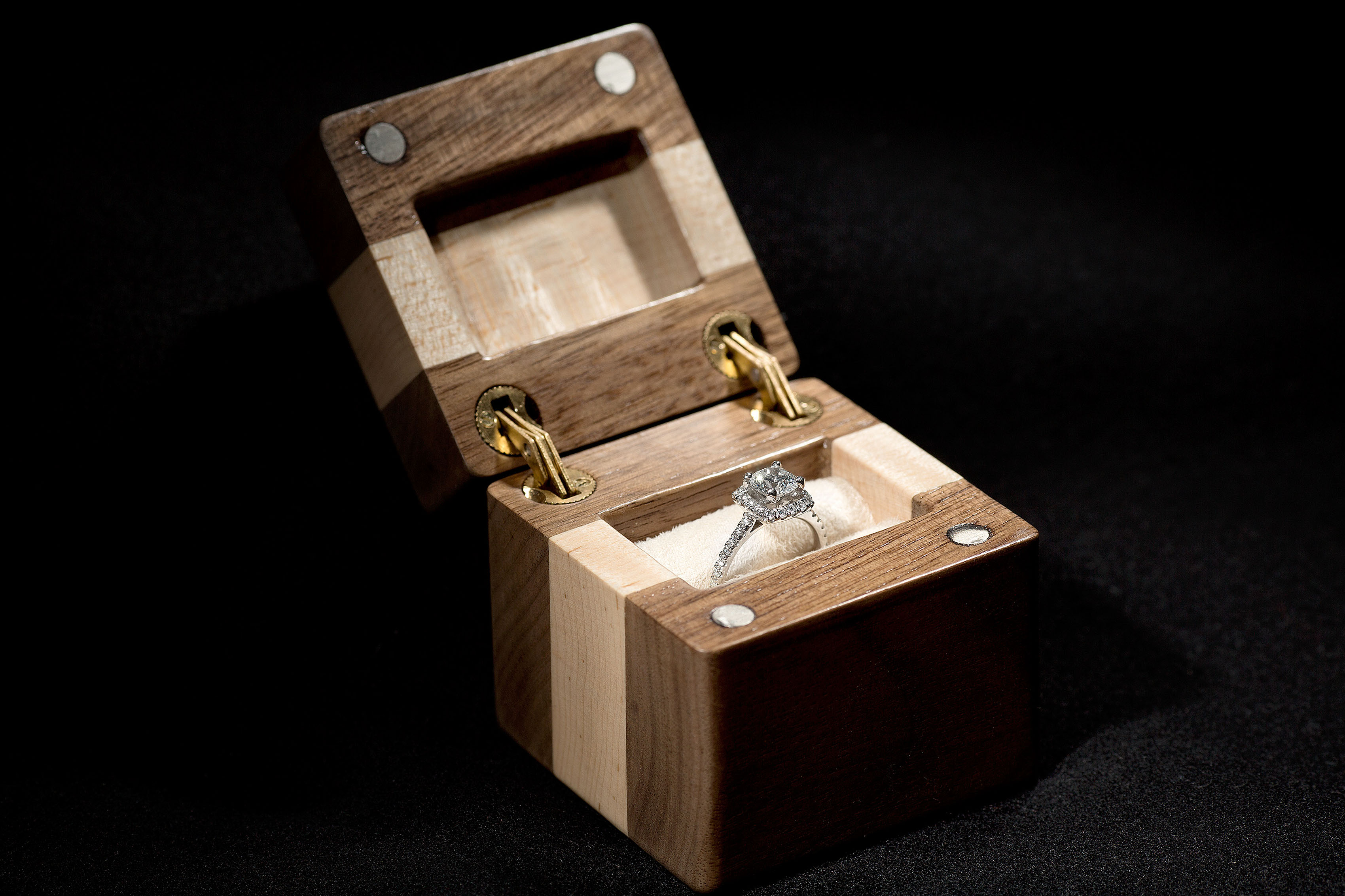 Engagement ring in a custom made wood box