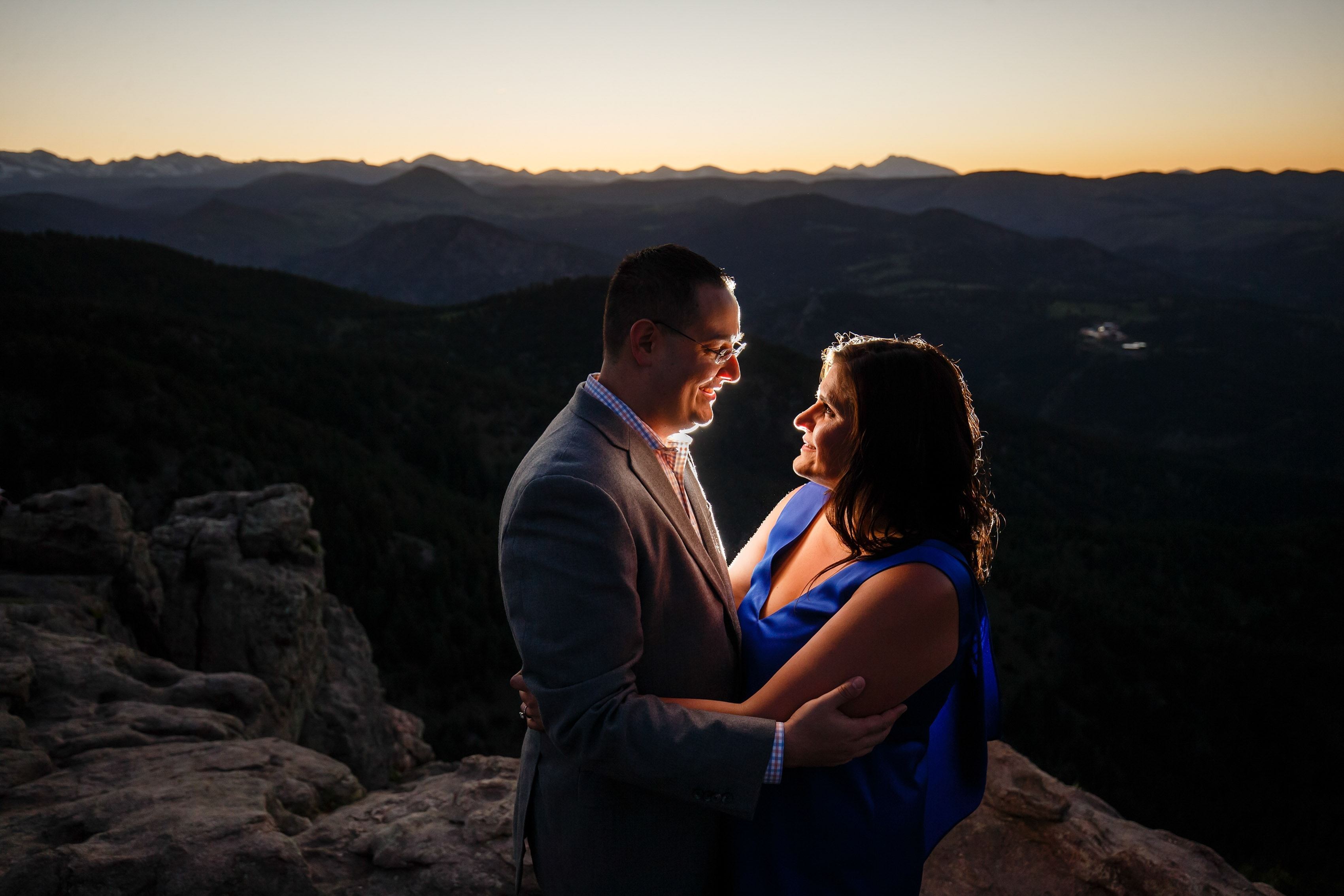 Dimitra and George take in the sunset at Lost Gulch Lookout above Boulder on a summer evening