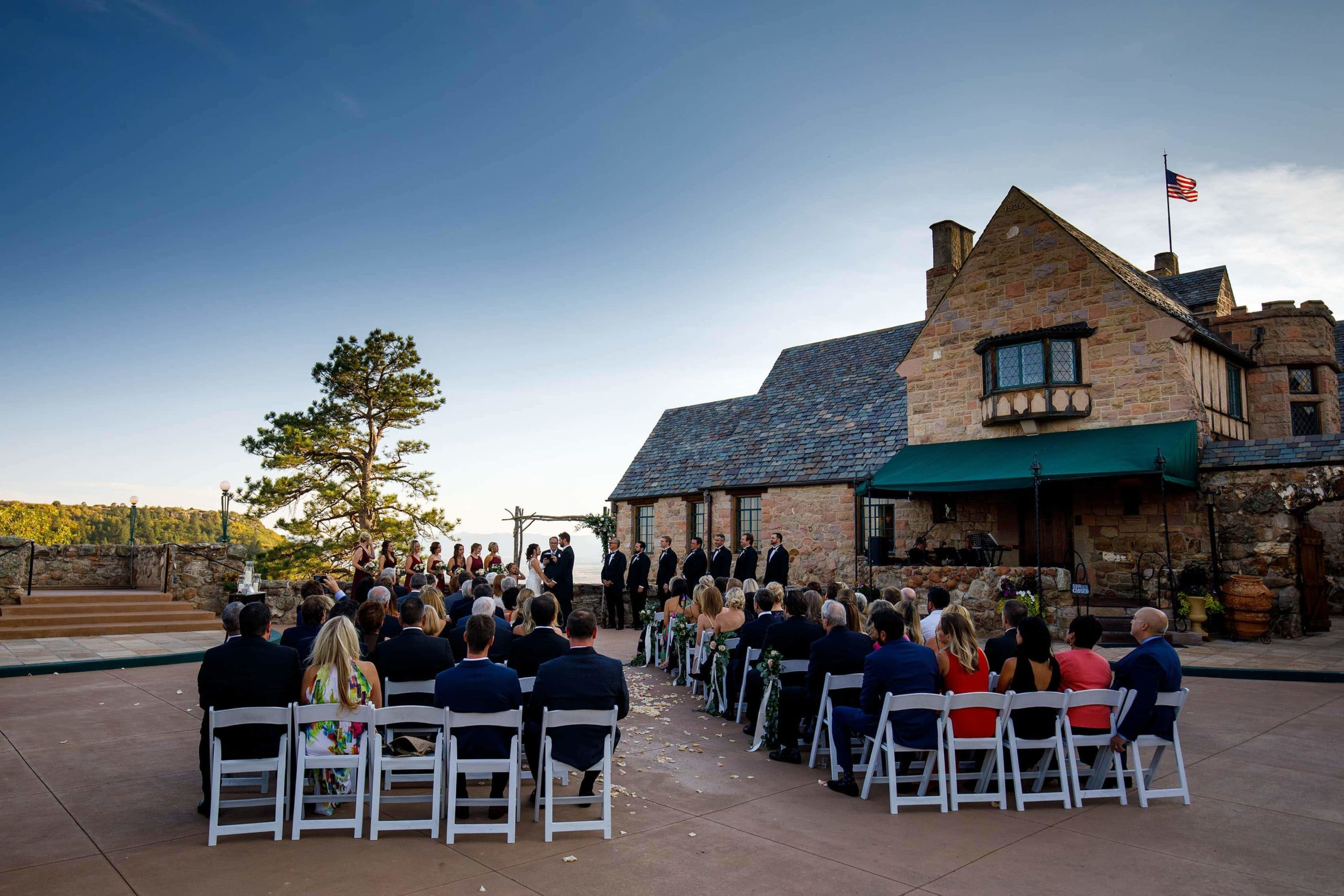 A wedding ceremony takes place at Cherokee Ranch and Castle Foundation