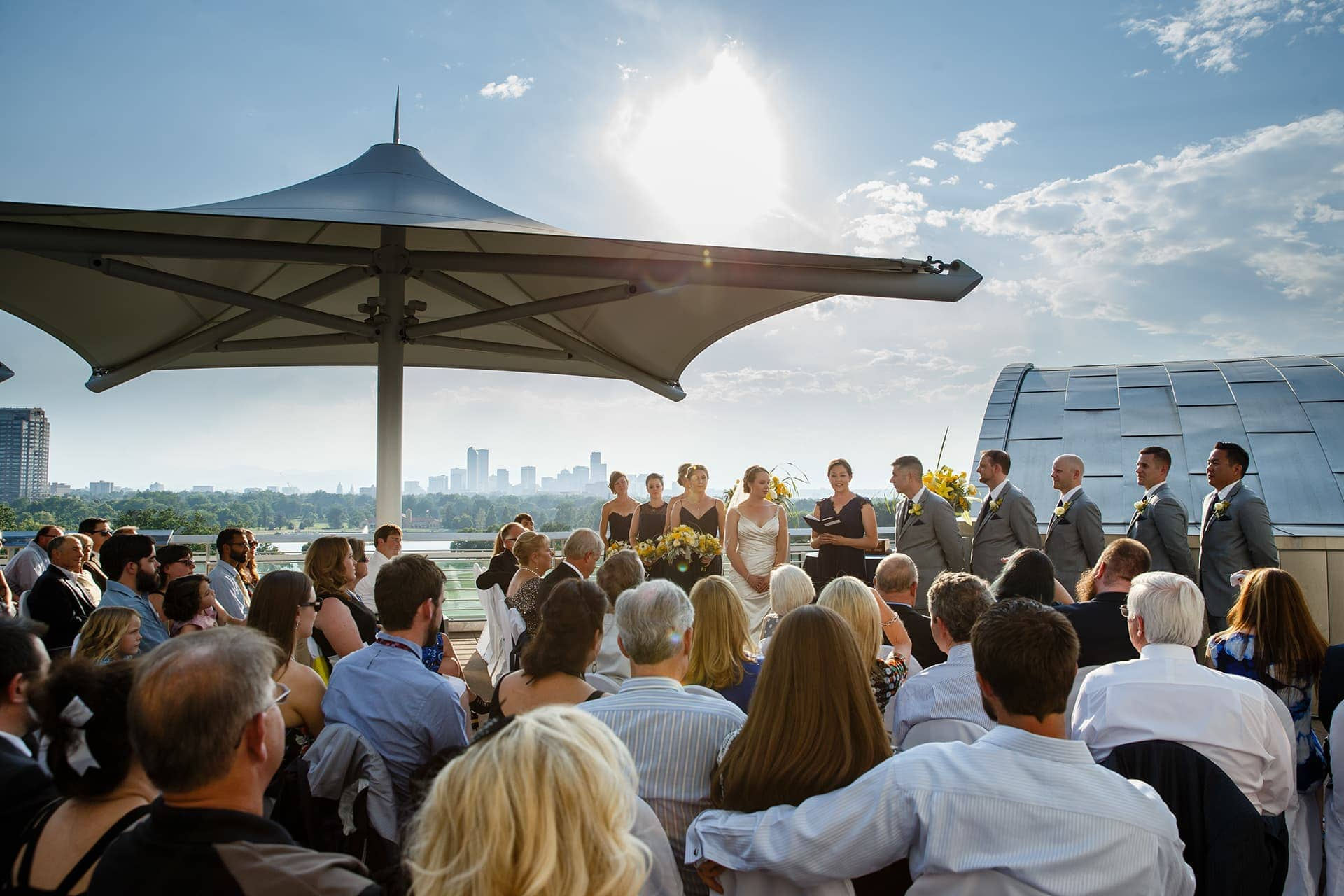 Rooftop wedding at Denver Museum of Nature and Science