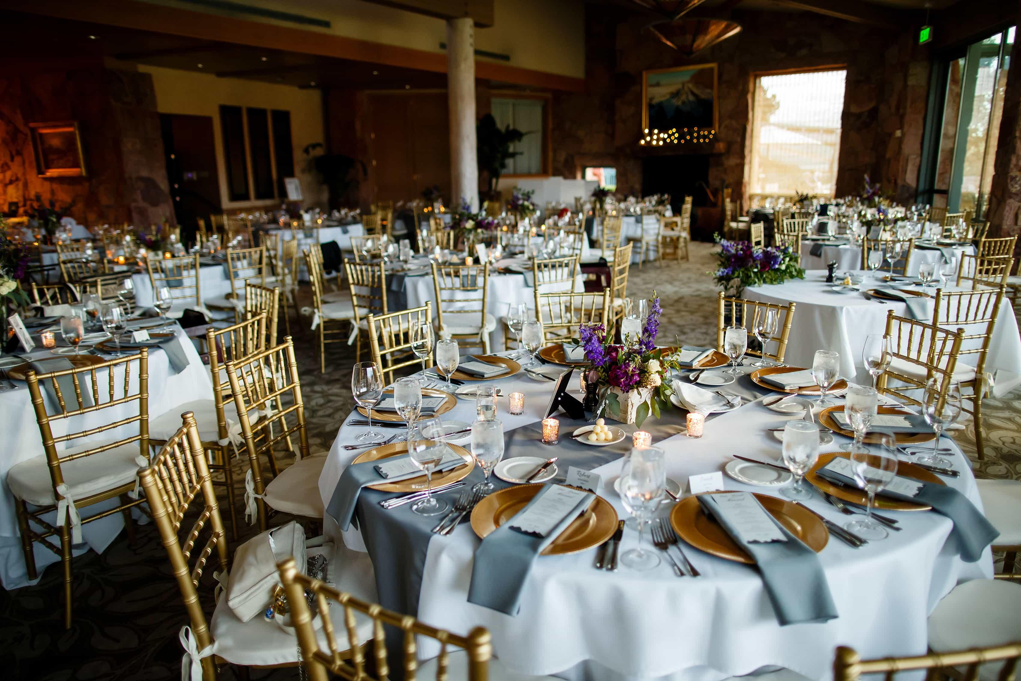 Reception table setup at Garden of the Gods Club wedding
