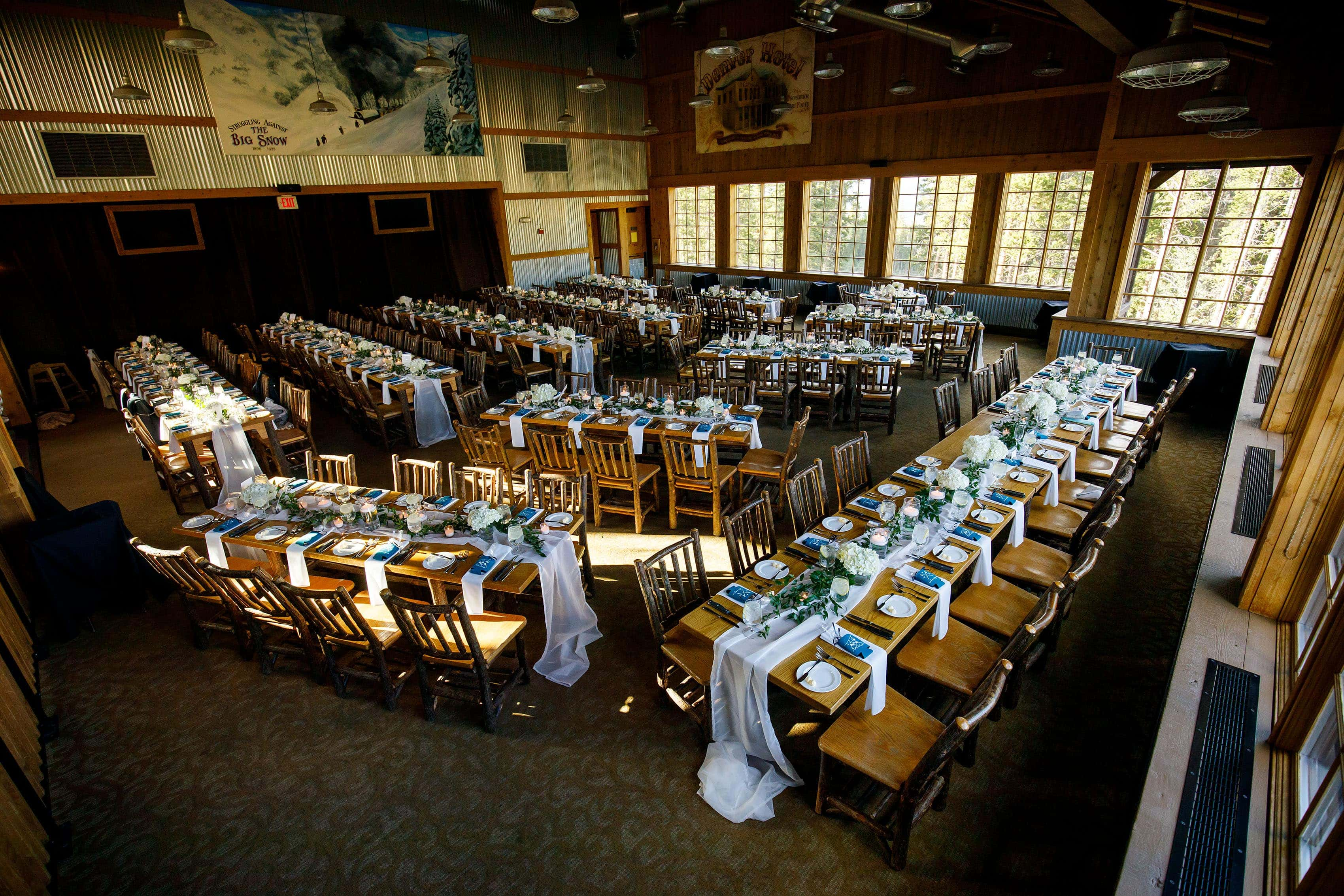 Wedding reception table setup for dinner