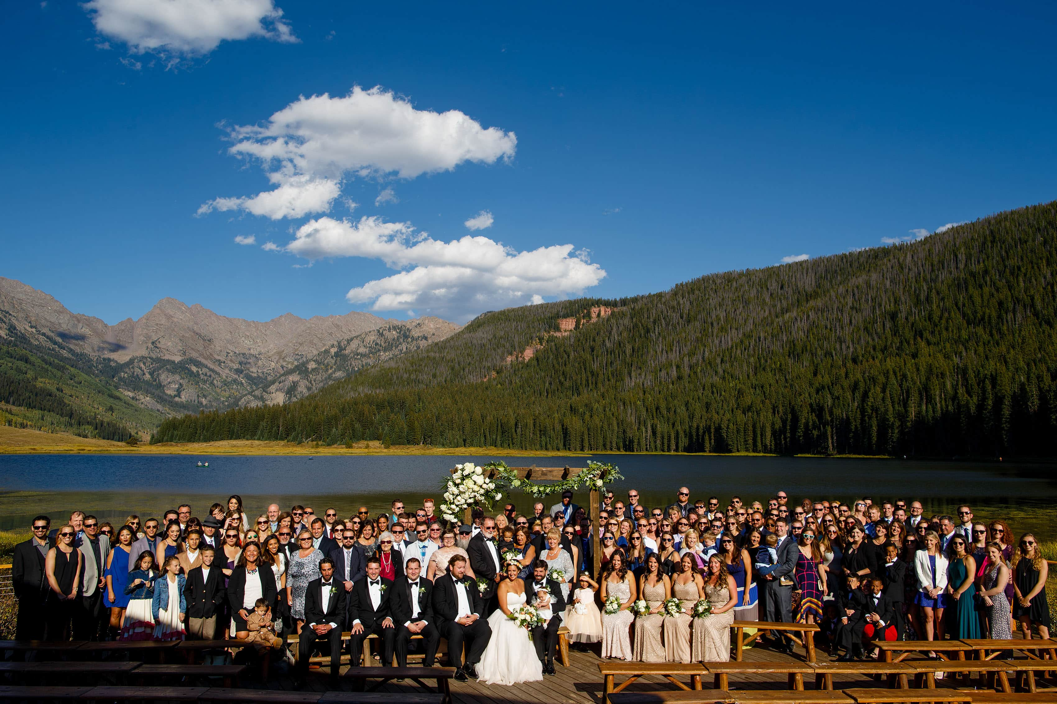 Large group photo at a Piney River Ranch wedding