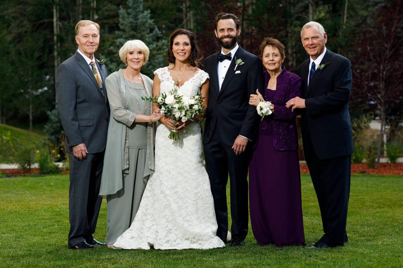 Formal family portrait at a Vail Golf Club Wedding