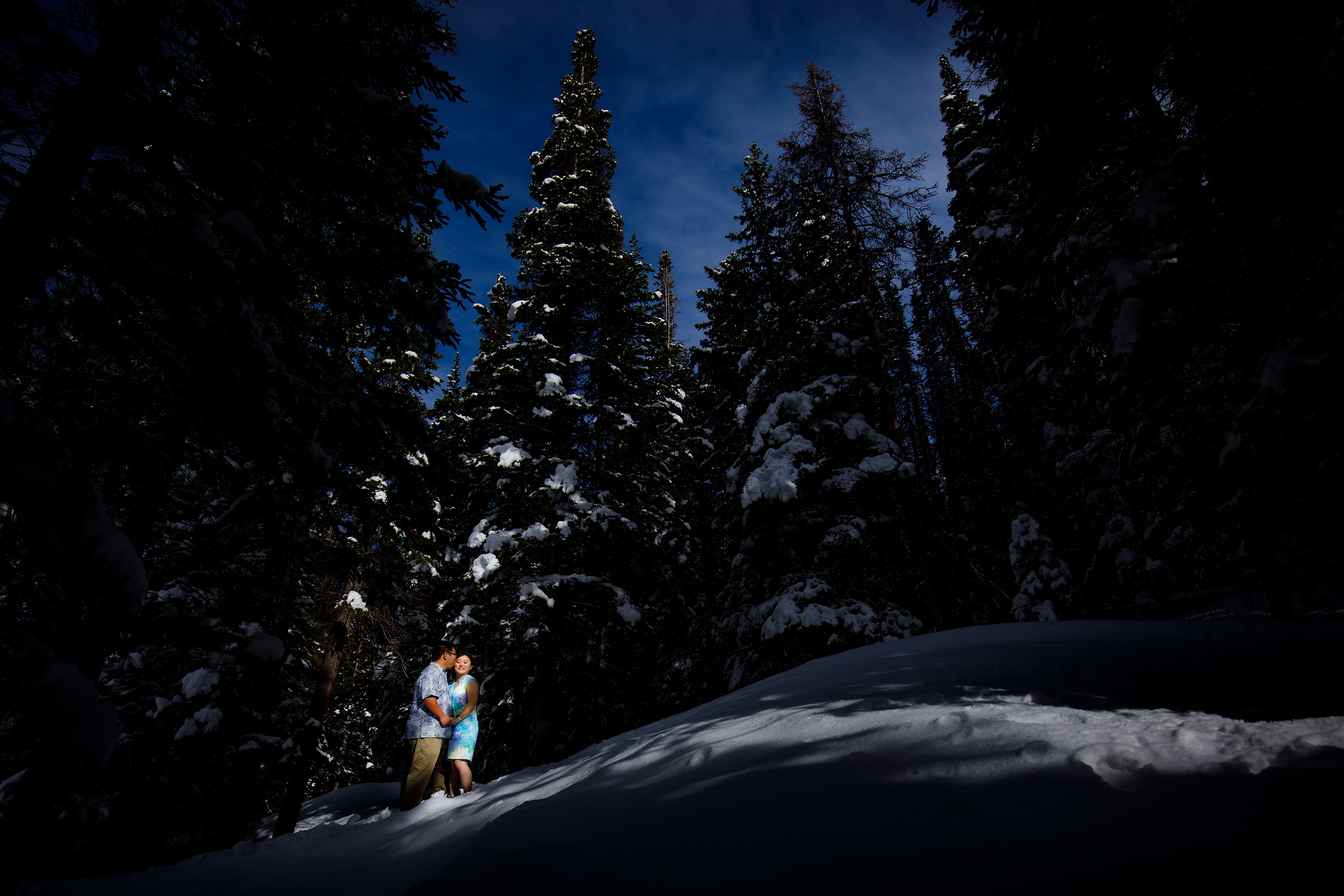 Snowy Winter Mountain Engagement | Grace & David