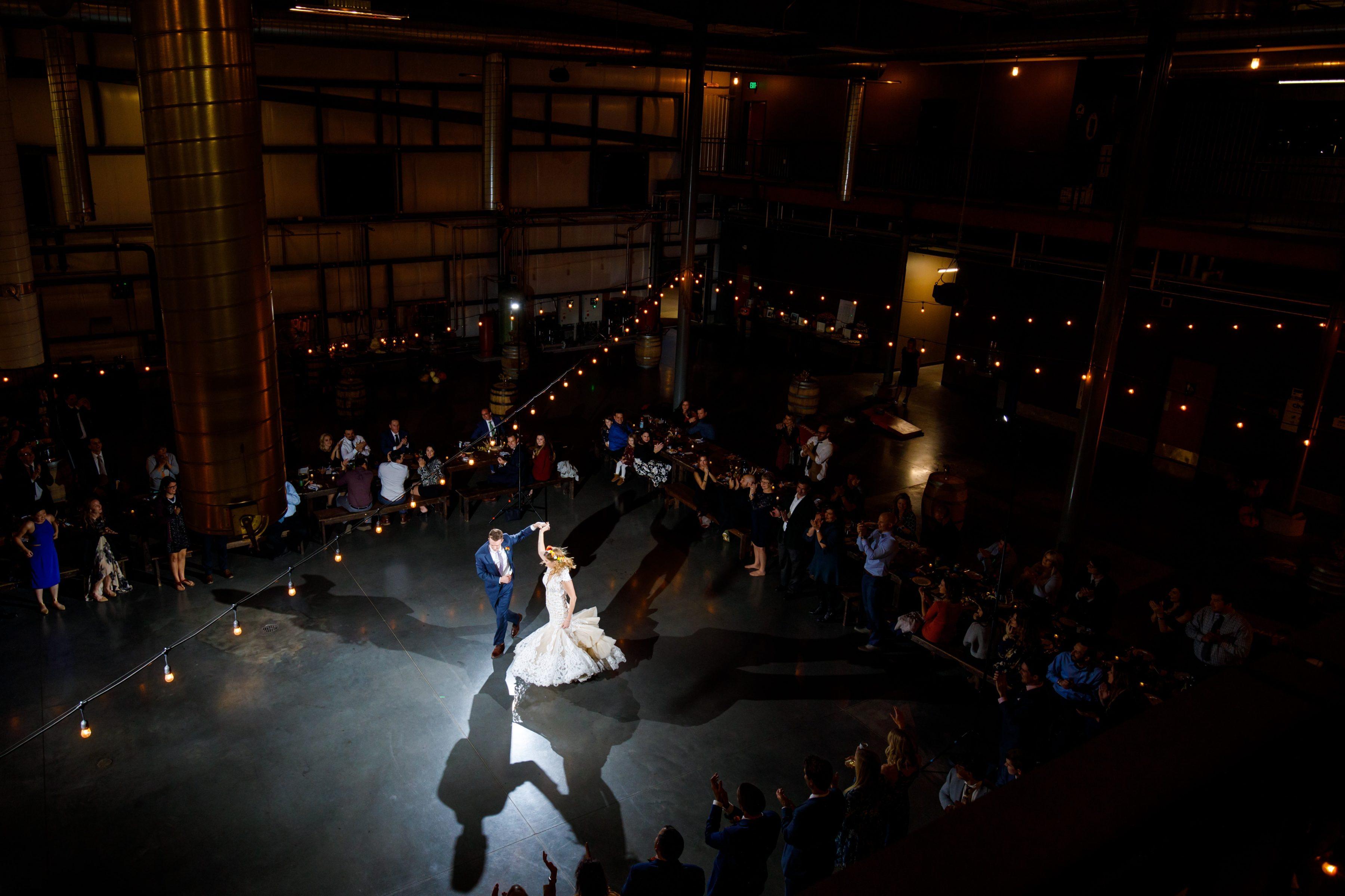 Great Divide Brewery wedding reception first dance