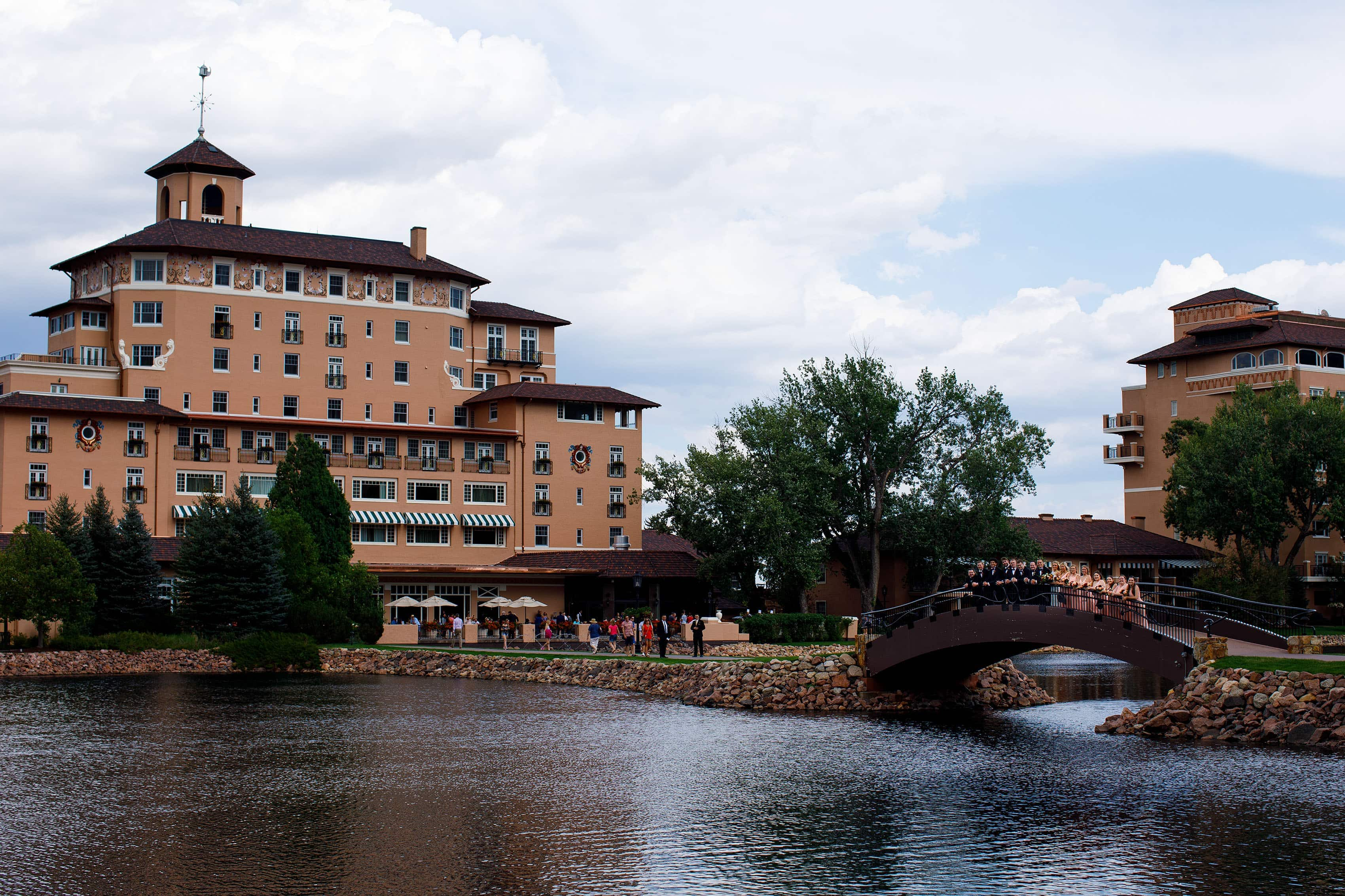 Wedding party on the bridge at The Broadmoor