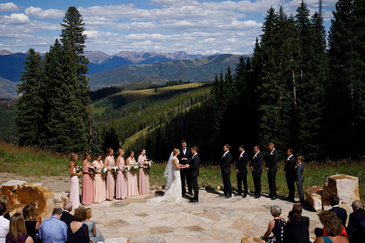 Wedding ceremony at the Beaver Creek wedding deck on a sunny September day