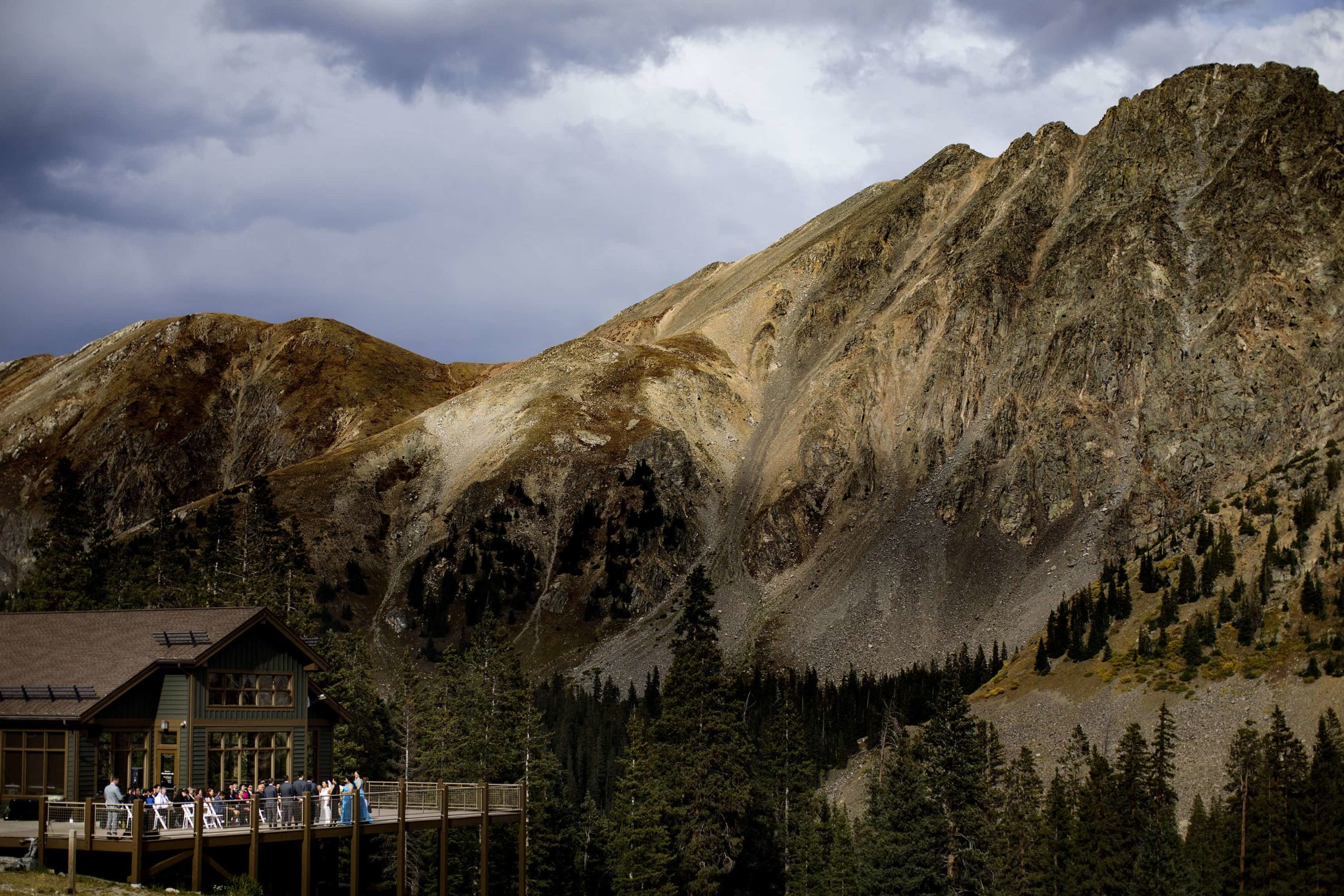 A view of David and Xinya's Arapahoe Basin wedding ceremony at Black Mountain Lodge in Colorado