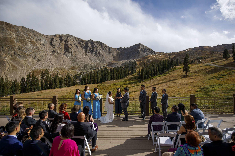Black Mountain Lodge wedding ceremony at Arapahoe Basin