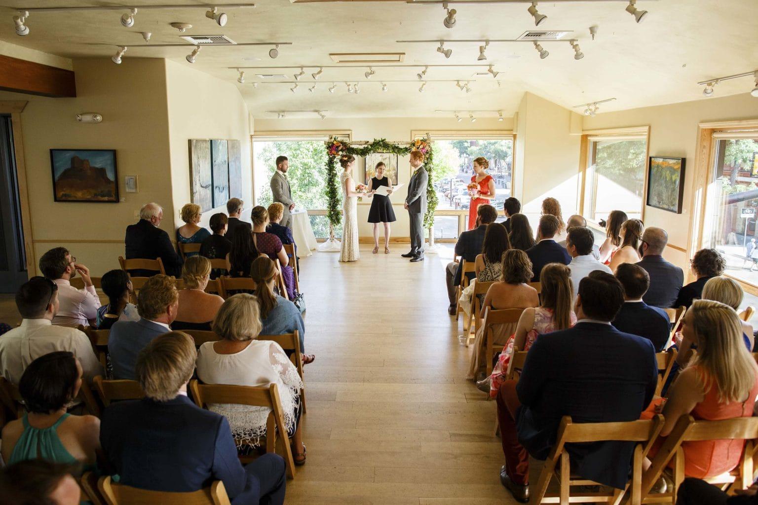 Wedding ceremony at Rembrandt Yard in Boulder