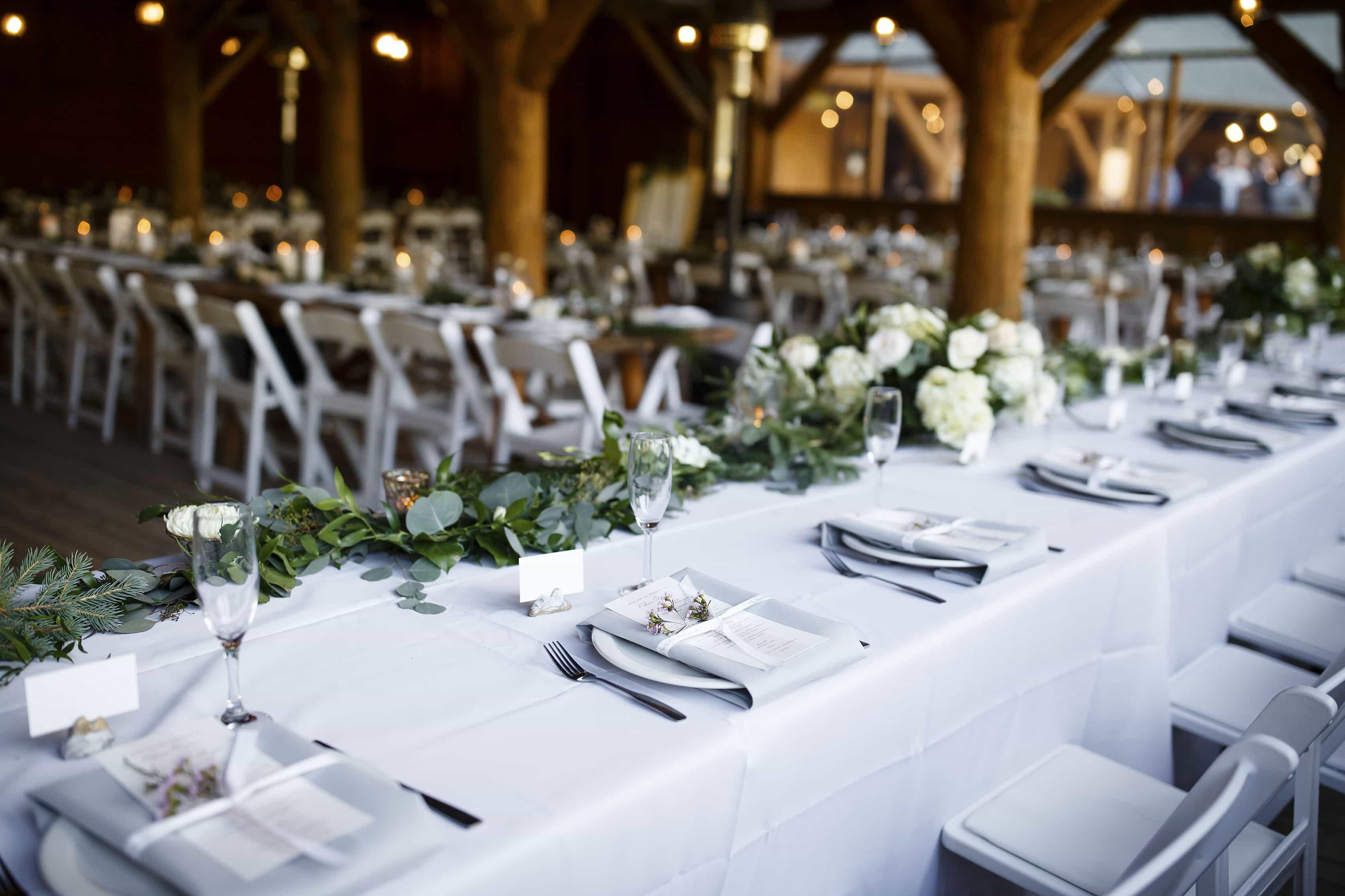 Table setup at a Piney River Ranch wedding