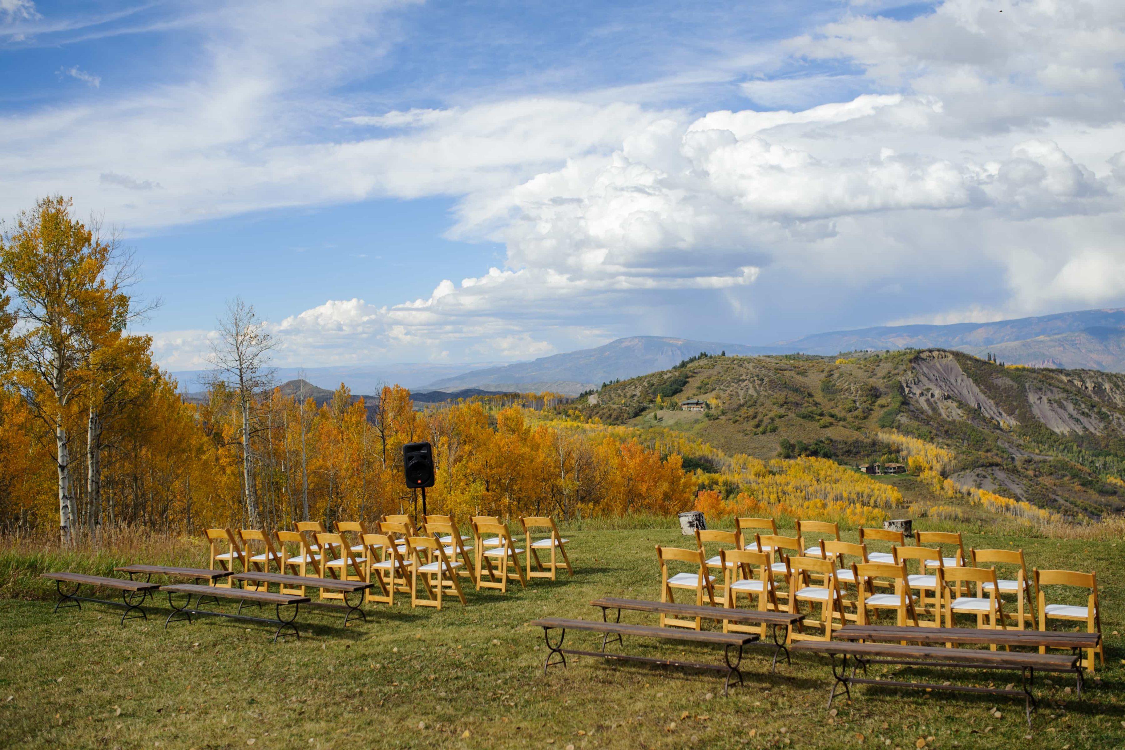 Wedding ceremony site at Lynn Britt Cabon on Snowmass Mountain