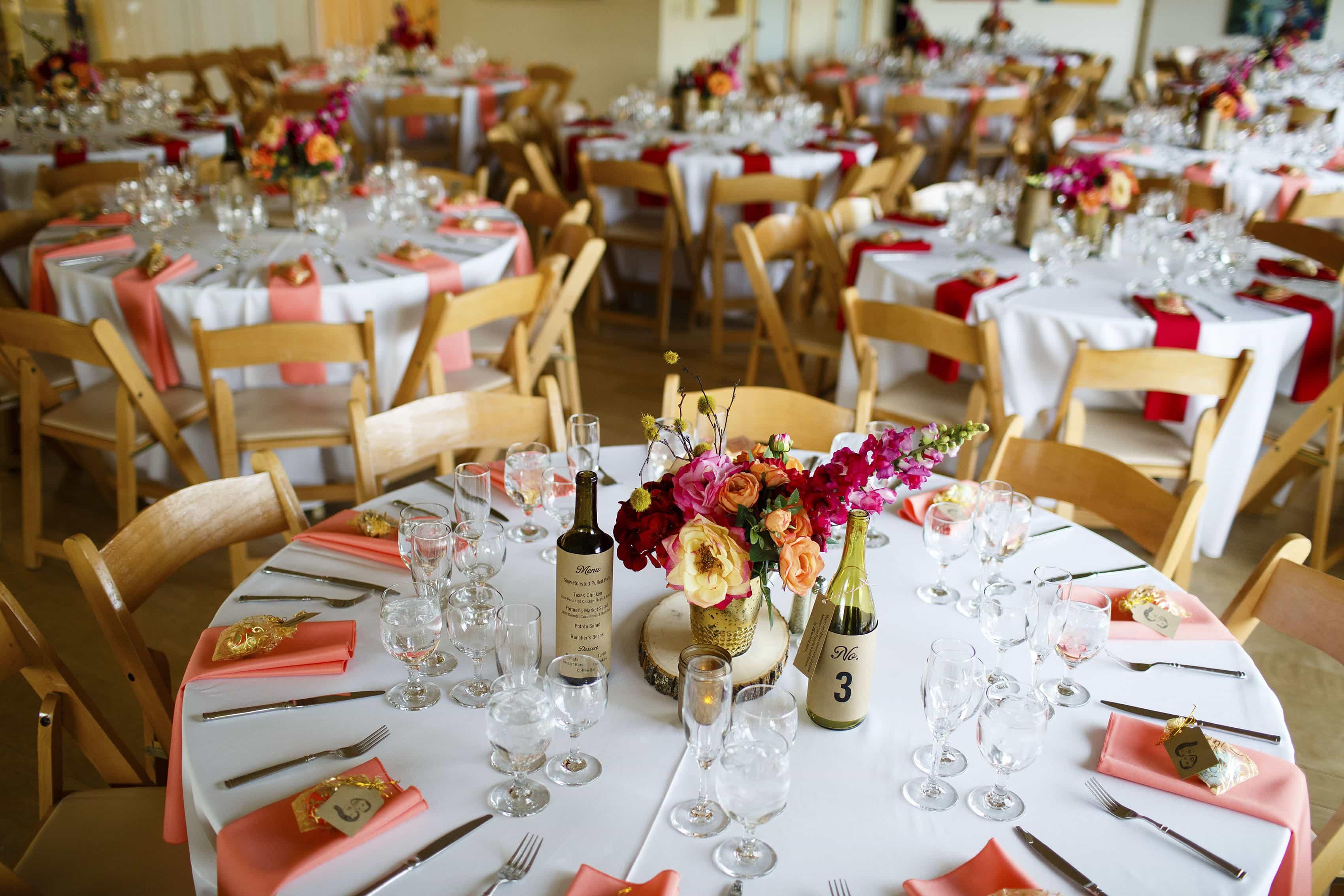 Tables set up for a Rembrandt Yard Wedding in Boulder, Colorado