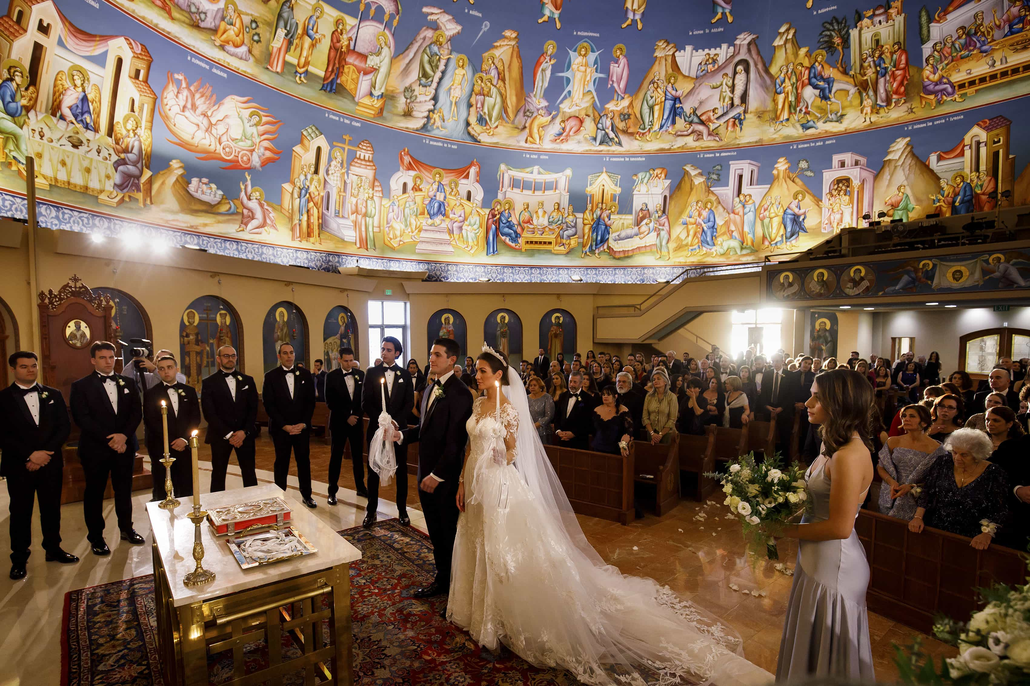 Ioanna and Alex's wedding ceremony inside the Assumption of the Theotokos Greek Orthodox Cathedral in Denver