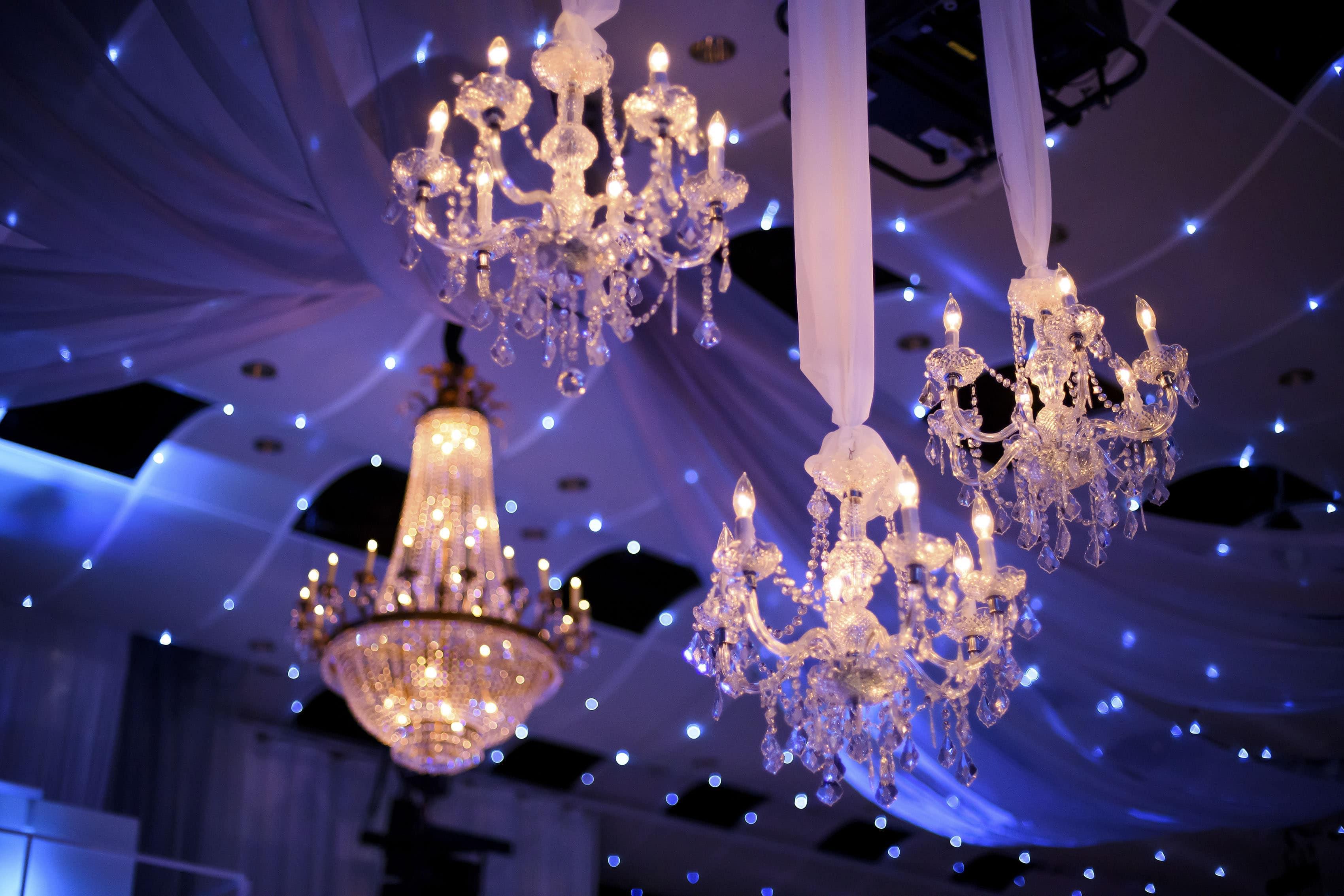 Seawell Ballroom chandeliers for a Greek wedding reception