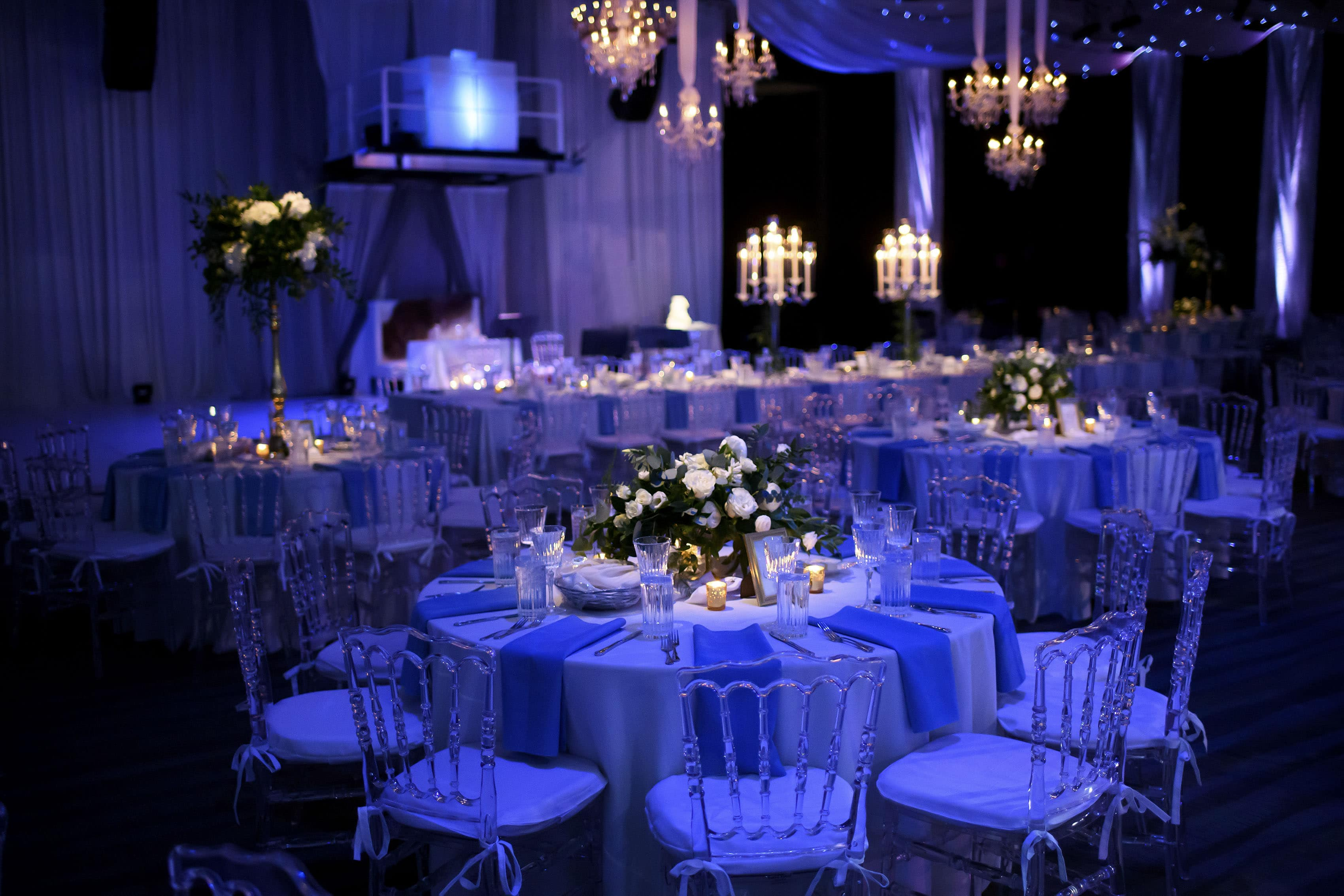 Seawell Ballroom table setup for a Greek wedding reception