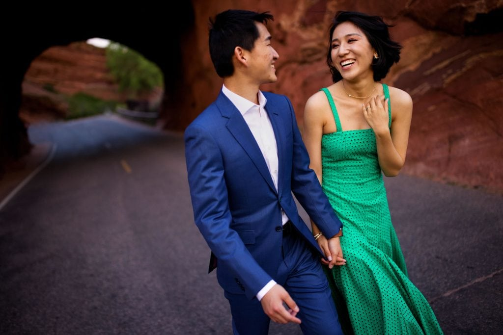 Yufan and Sunny share a moment together at Red Rocks amphitheatre during their engagement session
