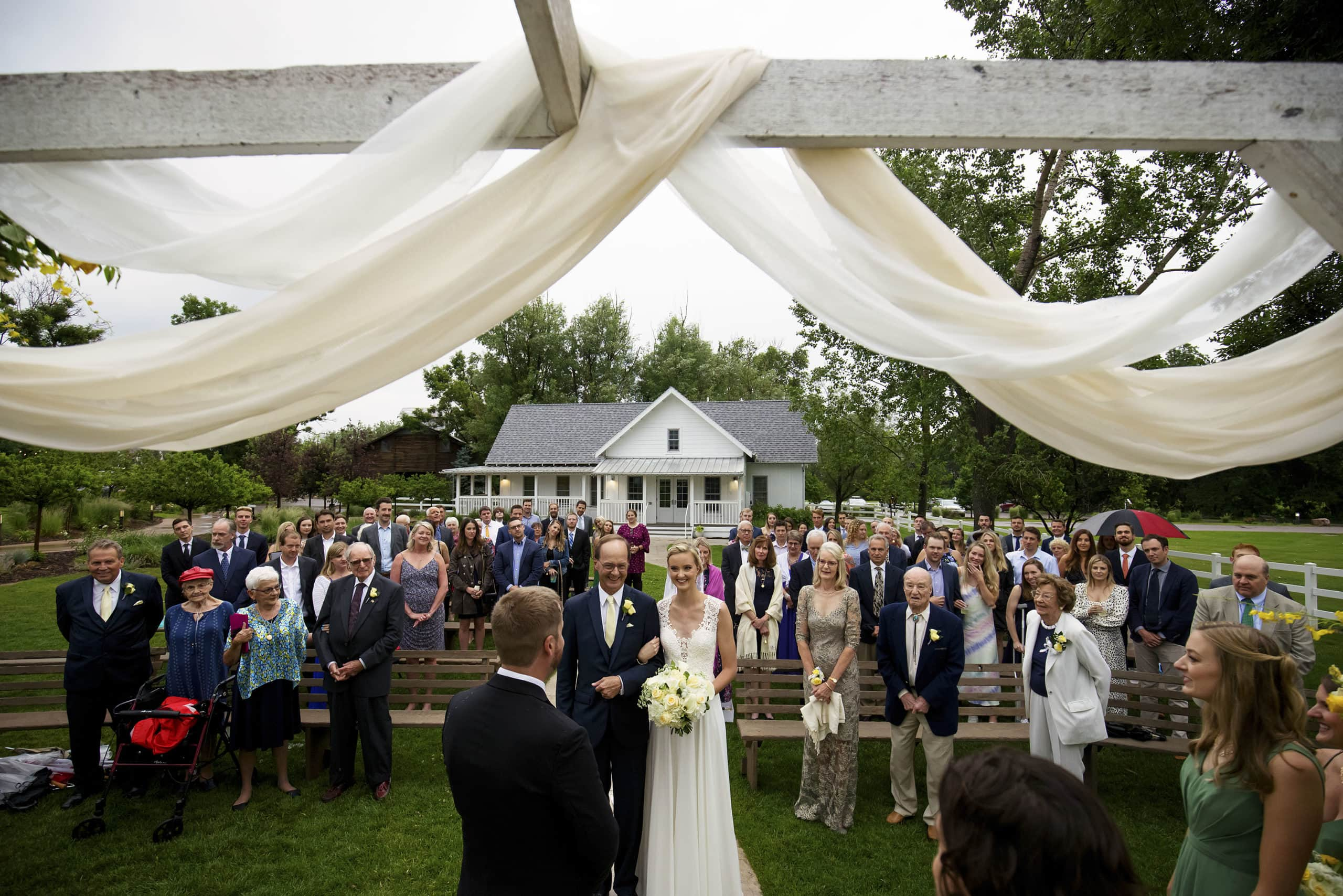 Jennifer and Stefan's wedding ceremony at the barn at raccoon creek