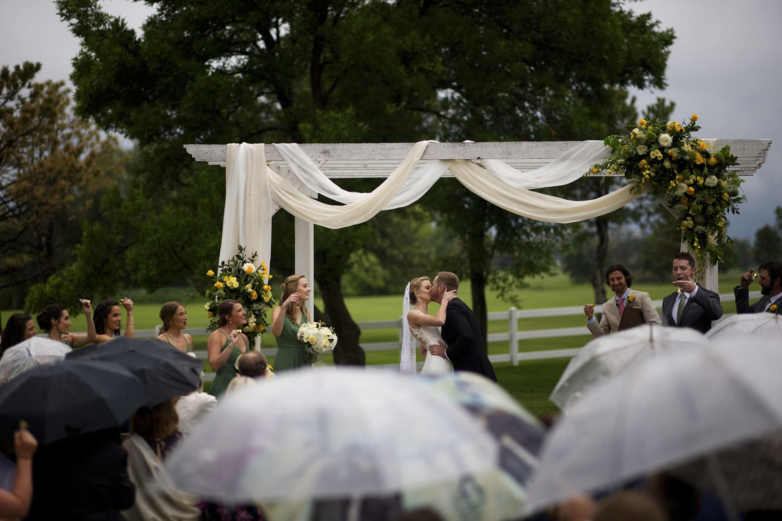 the couple's first kiss during at the end of the wedding ceremony