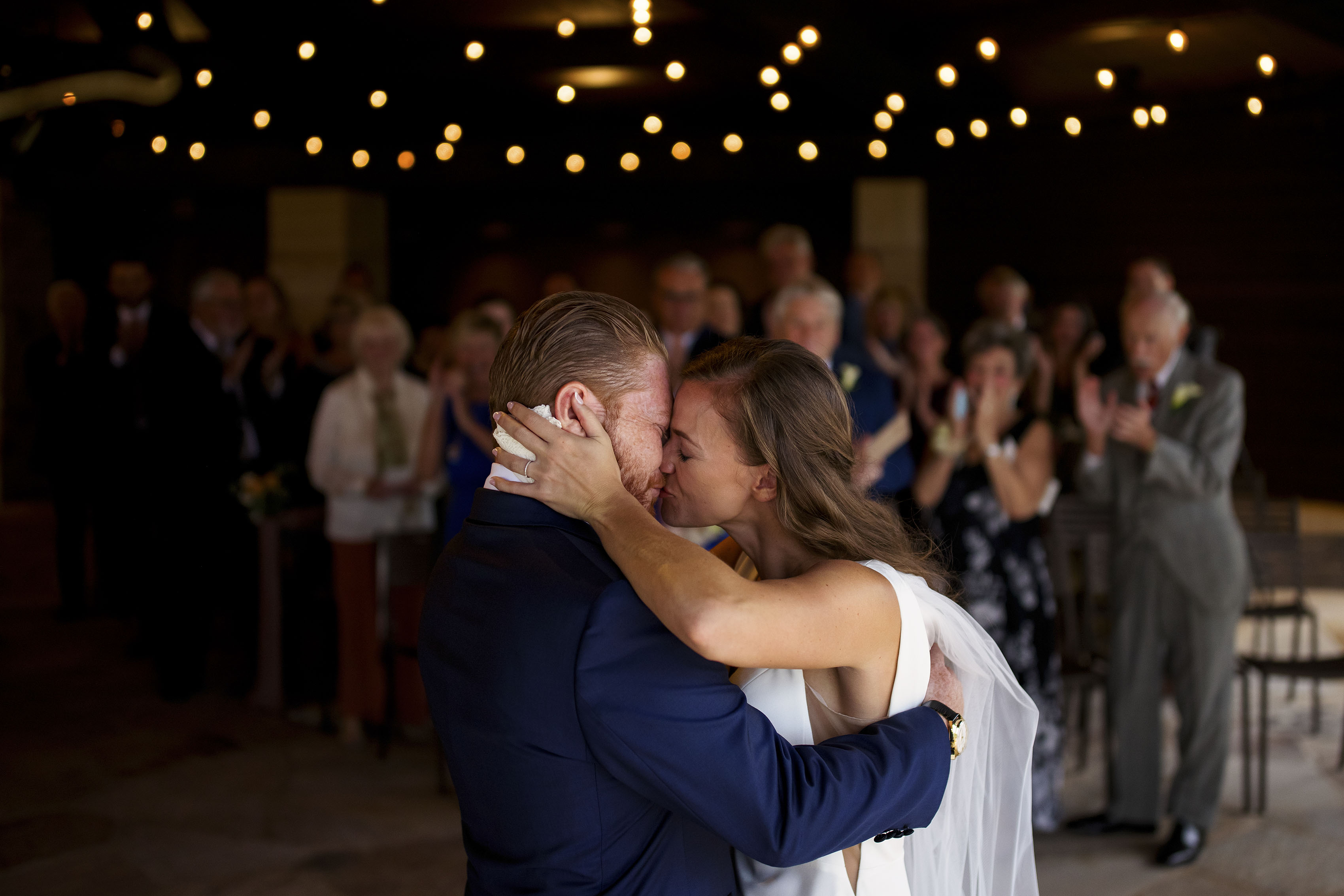 Casey and Darren's first kiss at Sanctuary during their wedding day