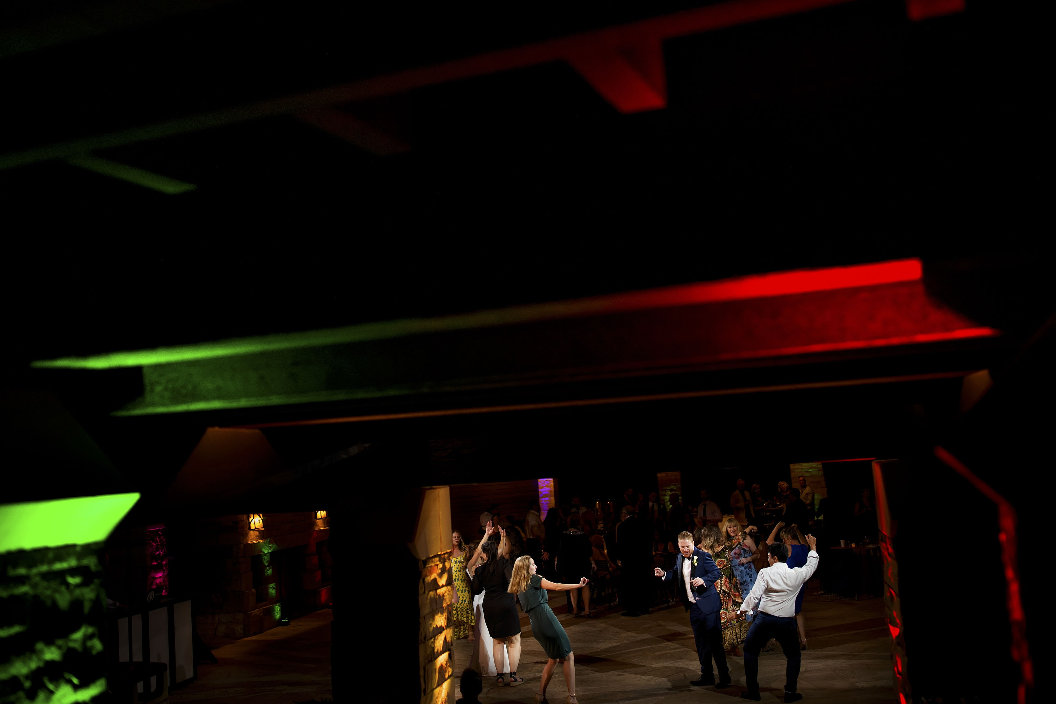 Guests dance during a wedding reception at Sanctuary