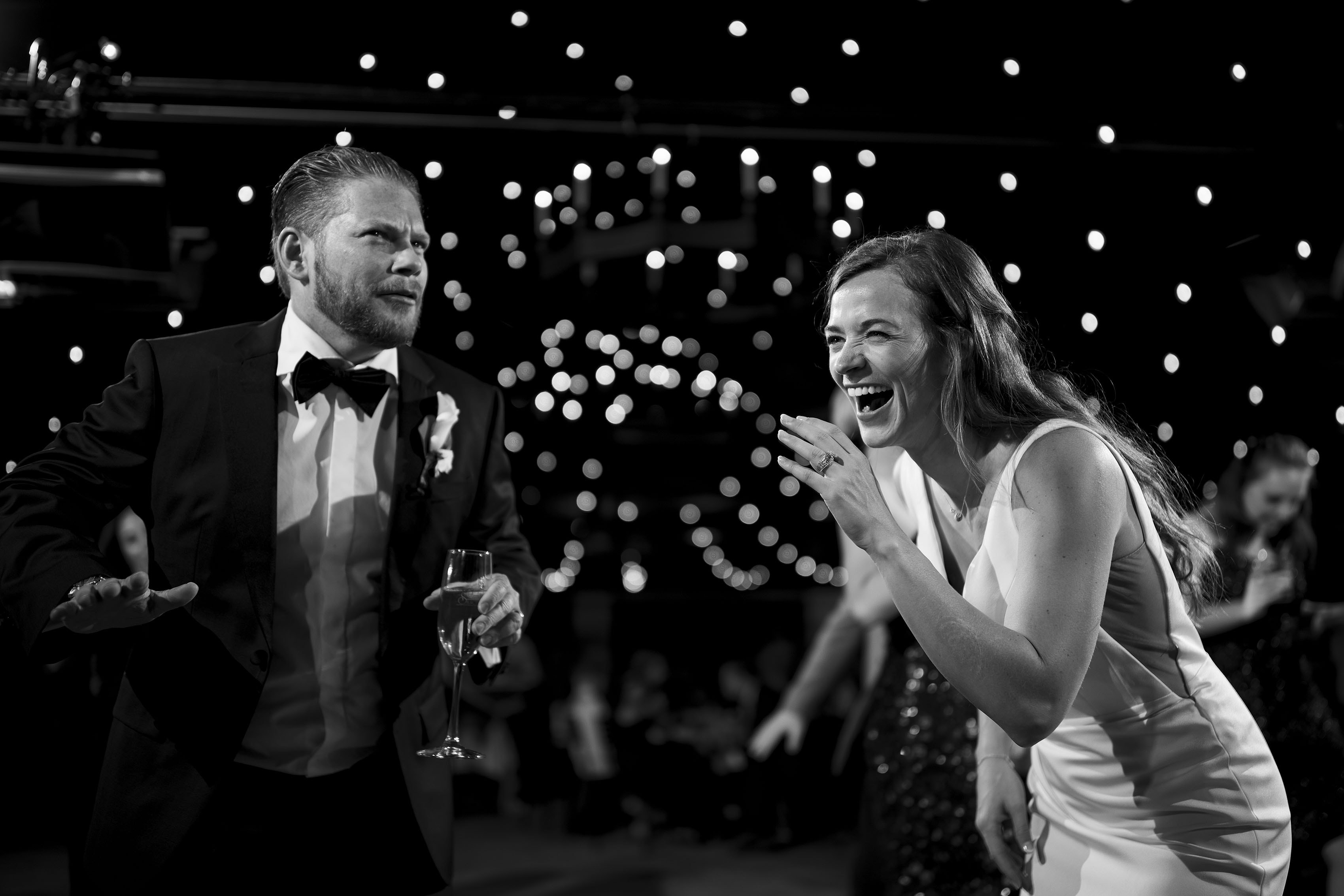 The bride and groom dance at their Sanctuary wedding reception