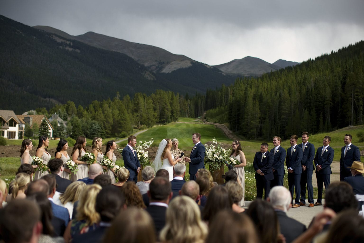 A view of the Mel and Drew's wedding ceremony on the Copper VIsta pad at Copper Mountain
